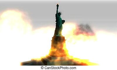 Digital Animation of a burning Statue of Liberty