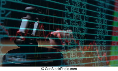 Digital animation of a business graph against the financial figures on the screen 4k