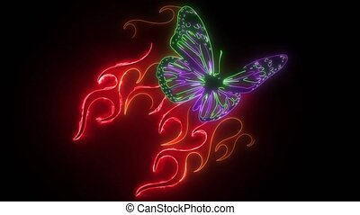 digital animation of a butterfly with flames that lighting up on neon style