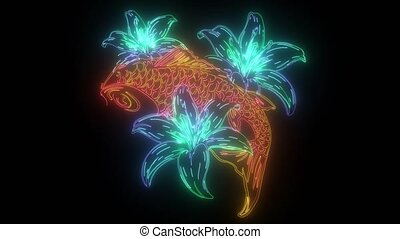 digital animation of a carp and flower that lighting up on ...