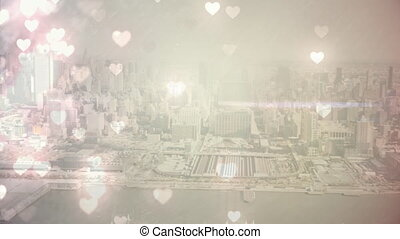 city with flying hearts
