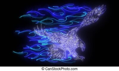 digital animation of a eagle and flames that lighting up on neon style