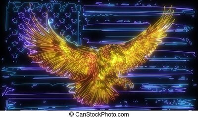 digital animation of a eagle with american flag that lighting up on neon style