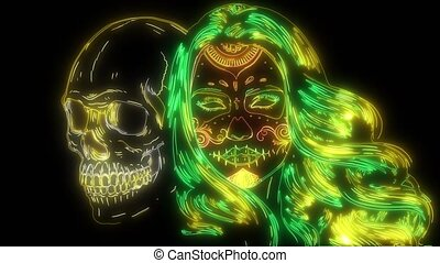 digital animation of a girl with skull that lighting up on neon style