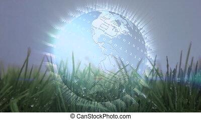 Digital animation of a globe on grass
