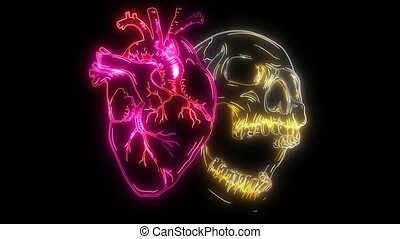 digital animation of a hearth with skull that lighting up on...