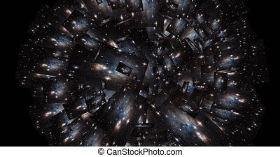 Digital Animation of a kaleidoscopic Space Scene - Elements...