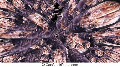 Digital animation of a quantity of appearing alien heads