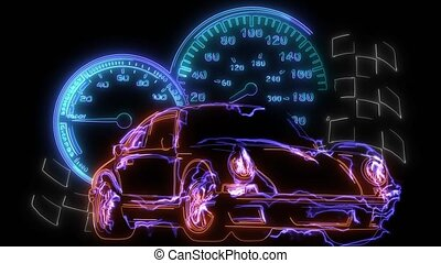 digital animation of a race car that lighting up on neon ...