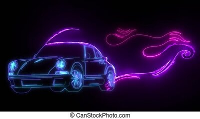 digital animation of a race car with flames that lighting up on neon style