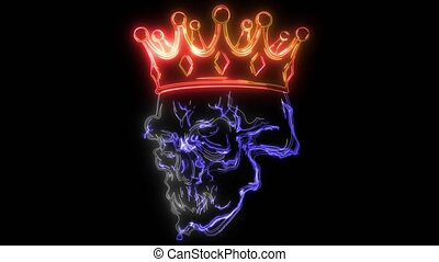 digital animation of a skull with crown that lighting up on neon style