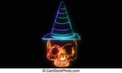 digital animation of a skull with hat that lighting up on neon style