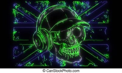 digital animation of a skull with phonehead that lighting up on neon style