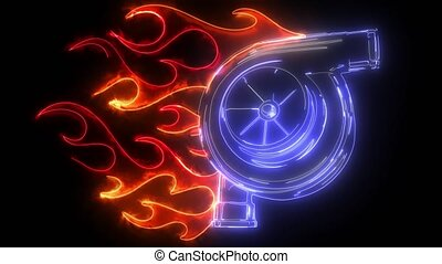 digital animation of a turbo and flames that lighting up on ...