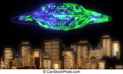 digital animation of a ufo in the city that lighting up on neon style