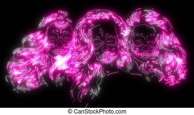digital animation of a woman skull that lighting up on neon style