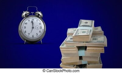 Digital animation of alarm clock ticking and stack of american dollar bills against blue background. global economy and finances concept.