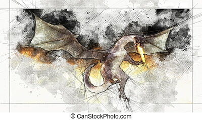 Digital Animation of an artistic Sketch, based on a self-created 3D Illustration of a Dragon, Model-Release or Property Release not required.