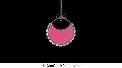 Digital animation of baby bib hanging on black background with copy space 4k