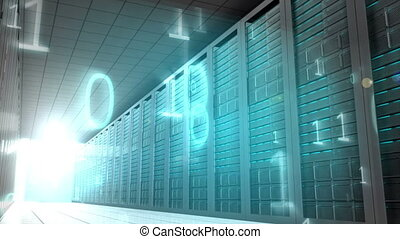 Binary code in server room - Digital animation of Binary...