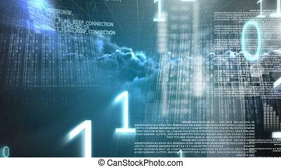Digital animation of binary code technology 4k