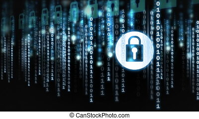 Digital animation of binary technology code 4k