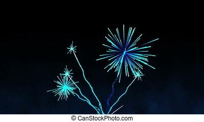 Digital animation of Blue fireworks exploding on black background