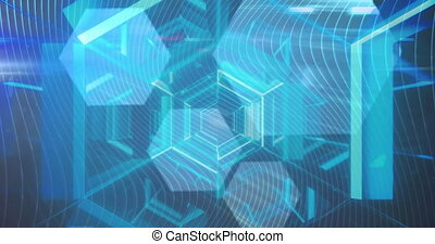 Digital animation of blue glowing tunnel against hexagonal shapes on blue background. computer interface technology concept.