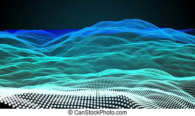 Blue pixel landscape