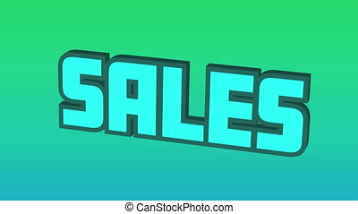 Digital animation of blue sales text bouncing against green and blue gradient background. global retail business concept