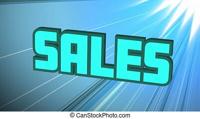 Digital animation of blue sales text bouncing against light trails on blue background. global retail business concept
