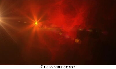 Digital animation of bright spot of light moving against glowing smoke effect on red background