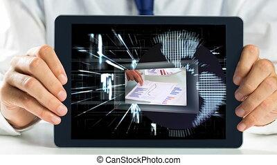Digital animation of businessman holding digital tablet 4k
