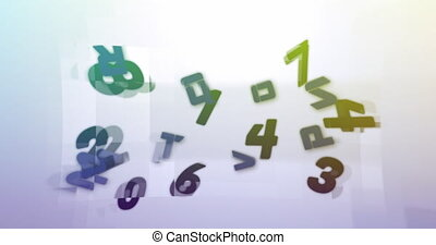Digital animation of changing numbers over square shapes on white background
