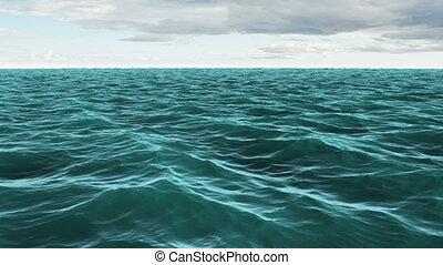 Choppy blue ocean under cloudy sky - Digital animation of...