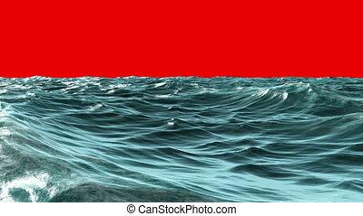 Choppy blue ocean under red screen - Digital animation of...