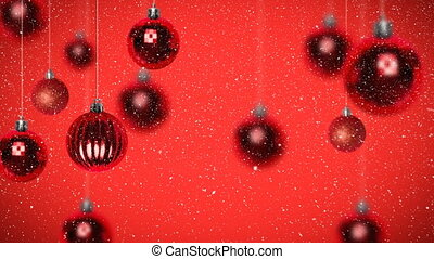Digital animation of Christmas bauble against red background 4k