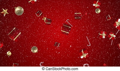 Digital animation of christmas gifts and decoration falling against red background 4k