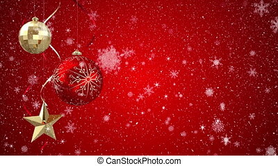 Digital animation of Christmas ornaments against red background 4k