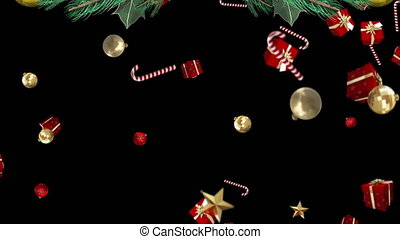 Digital animation of christmas wreath against christmas candy canes, baubles and gift boxes falling on black background. christmas festivity celebration tradition concept
