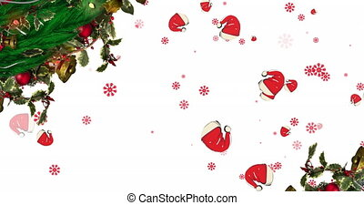 Digital animation of christmas wreath decoration over multiple santa hats and snowflakes falling against white background. christmas festivity celebration tradition concept