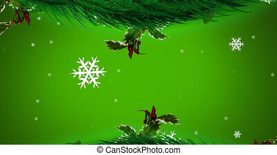 Digital animation of christmas wreath decoration snowflakes moving against green background. christmas festivity celebration tradition concept