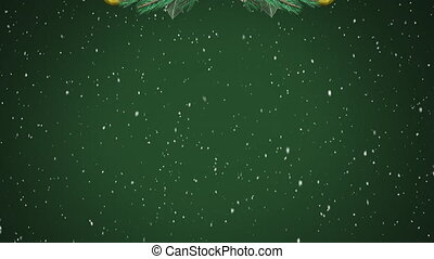 Digital animation of christmas wreath decorations hanging against snow falling on green background. christmas festivity celebration tradition concept