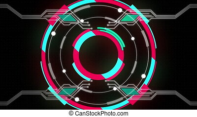 Digital animation of circular abstract shapes forming against microprocessor connection on black background. movement concept digitally generated video