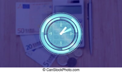 Digital animation of clock ticking against euro bills, cents, calculator and pen on wooden surface. global economy and finances concept
