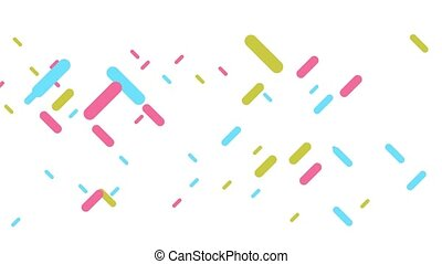 Digital animation of colorful shapes moving on white background. CG animation.