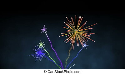 Digital animation of Colourful fireworks exploding on black background