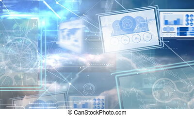 Digital animation of computer screens with business graph 4K
