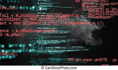 Digital animation of data processing against smoke on black background