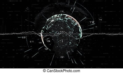 Digital animation of Data processing against spinning globe on black background. Global networking and connection concept